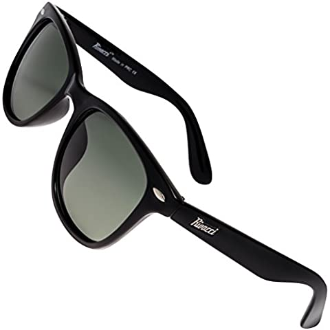 Rivacci Unisex's Wayfarer Black Frame / G15 Green - Gray Lens Medium 49mm Polarized (Occhiali da sole)