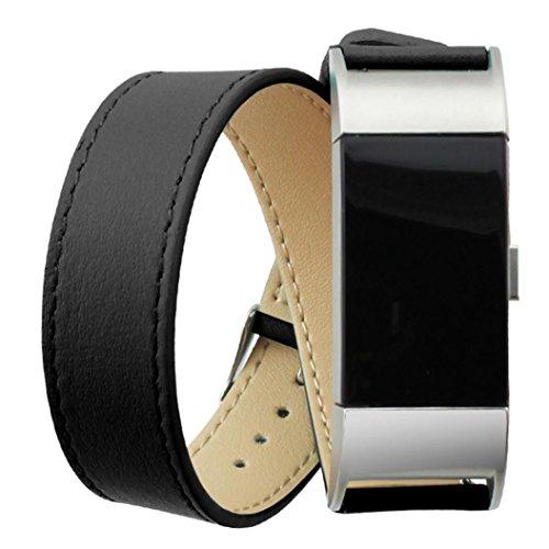 Ihee lusso software cinturino da polso regolabile in vera pelle doppio giro, cinturino per Fitbit Charge 2, Uomo, Y609, Black, M