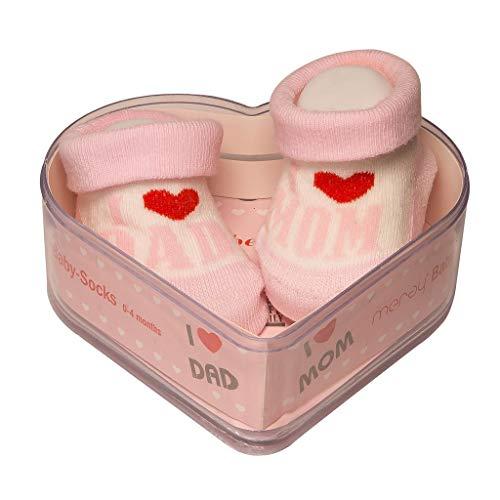 Calcetines Para Bebés Recién Nacidos 0-4 Meses | Algodón Grueso Y Empuñaduras Antideslizantes | Nuevo Y Perfecto Juego De Regalo Para Bebé Para Duchas Para Bebés | Rosa