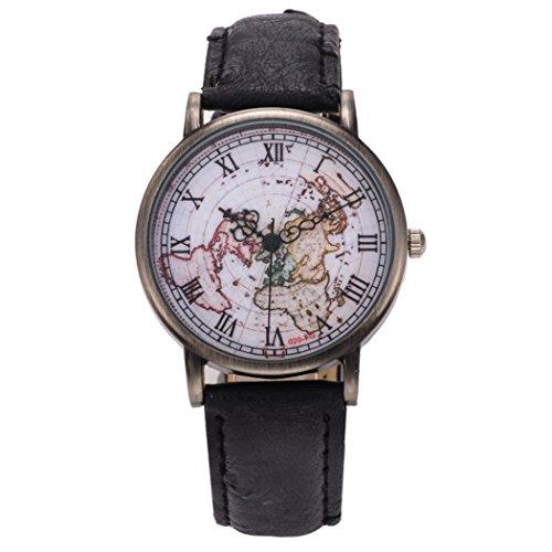 Coxeer® Retro World Map Ladies Watch in numeri romani del bronzo di quarzo vestito alloggiamento analogico orologi cinturino in pelle