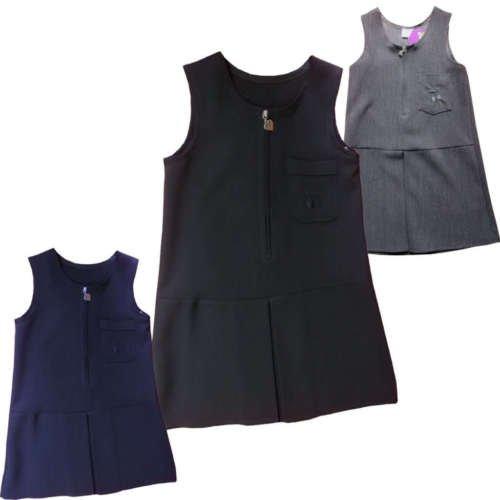 Schule Uniform Latzschürze Kleid mit Cherry Stretch Material schwarz grau navy blau, schwarz, 2-3 - Navy Uniform Schule