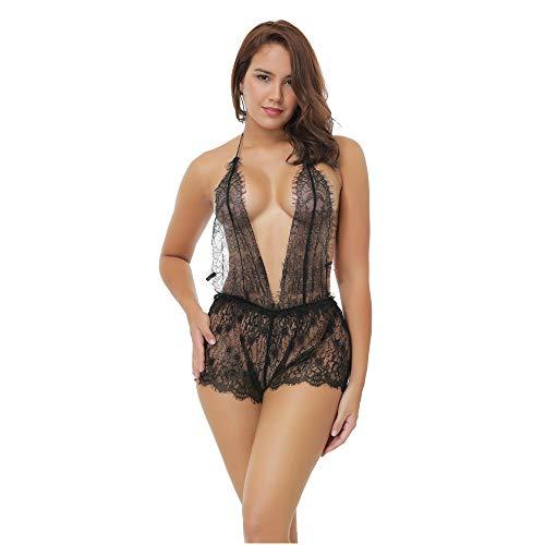 Yazidan Damen sexy Perspektive Dessous Nachtwäsche Spitzenkleid Unterwäsche Perspektive Backless sexy Spitzenrock Pyjamas V-Ausschnitt Spitze zurück Reizwäsche Rückenfrei Nachtwäsche -