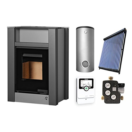 Aquaflam KS2828 Vario Lend Basic Grey Wasserführender Kaminofen Komplett-Set + Solarthermie-Set 2 (11 m²) + Hygienespeicher SHS 550 + 1 SWT