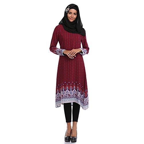 Muslimische Kleidung Elegant Langarm Kleid Tunika Islamische Damen O-Ausschnitt Geblümt Madikleid...