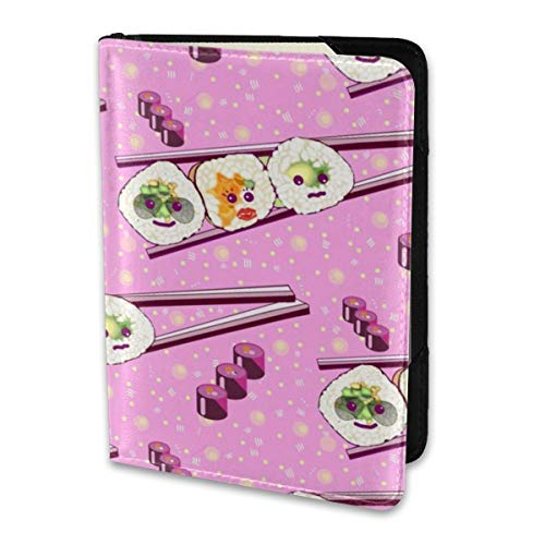 Pink Polka Sleeve (Passport Holder Cover Kawaii Sushi In Candy Pink with Polka Dots Wallet Credit Card Set Blocking Leather Card Case Travel Accessories for Women Men)