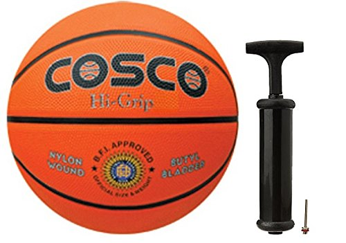 Cosco Hi-Grip Basketball with Hand Pump- Size 5  available at amazon for Rs.815