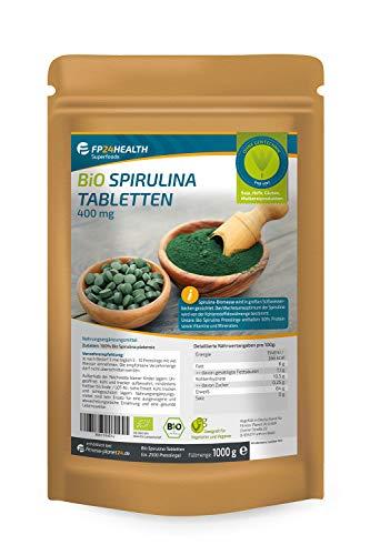 FP24 Health Bio Spirulina Tabletten 1kg - 400mg pro Tablette - Plantensis - im Zippbeutel - 1000g Presslinge - Top Qualität