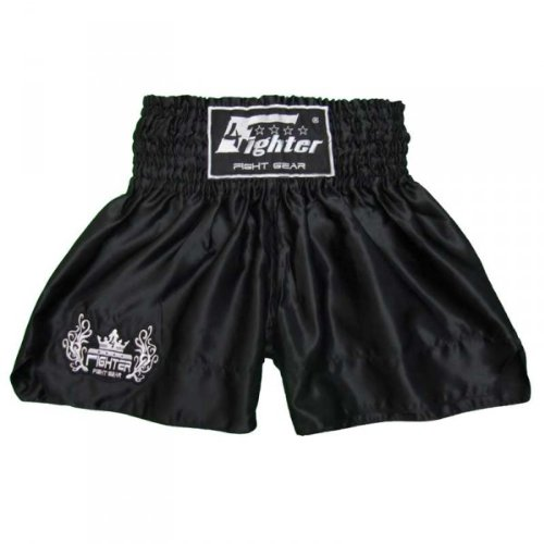 4Fighter Muay Thai Shorts Classic schwarz mit 4Fighter Tribal Logo am Bein, Größe:M (Trainingshose Schwarz Logo)