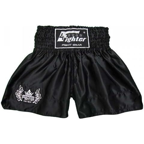 4Fighter Muay Thai Short Classic in nero con 4fighter logo sulla gamba, Dimensioni:XXS - Muay Thai Kickbox Shorts