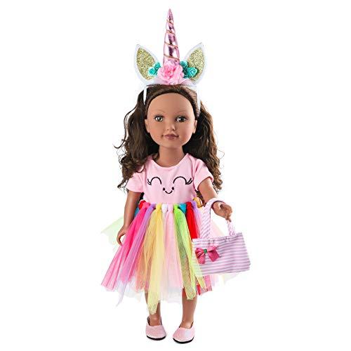 fd20a53ec BEYUMI 5 PCS Unicorn Clothes Outfit Accessoires für alle 18 Zoll Dolls,  Headband, Tutu