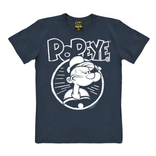 Popeye T-Shirt - Portrait - Comic T-Shirt - Popeye der Seemann T-Shirt - dunkelblau - Original Marke Traktor®, Größe XL -
