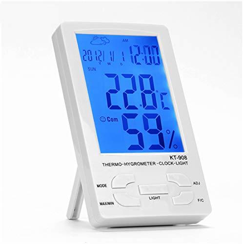 Olprkgdg Multifunktions-Innenelektronik-Thermometer Hygrometer leuchtender Baby-Raum-Thermometer-Wecker (Color : White) (Outdoor-atomuhr)