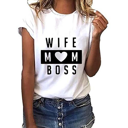 Wife MOM BOSS Frauen Rundhals Bluse Shirtbluse Mädchen Plus Size drucken Tees Shirt Kurzarm-T-Shirt Bluse Tops Casual Tops Oberteil Pullover Sweatshirts (L, Weiß) -