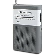 Metronic 477215 Radio Portable FM de Poche - Gris et Blanc