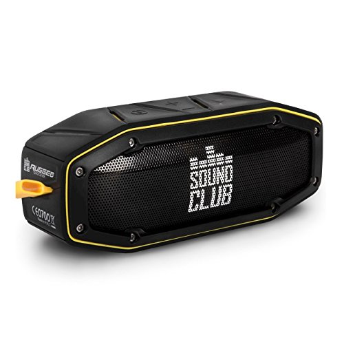 'GoClever Sound Club Rugged Mini Robust Bluetooth Stereo Speaker, Waterproof, Dust Proof, 2x 5W–Black/Yellow - Best Price