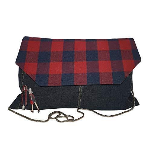 restyled.store Clutch Tasche, Recycelte Jeans Clutch Handtasche, Lässige Clutch Schultertasche, mit Metallkette - 35/24 CM - Blau/Rot -