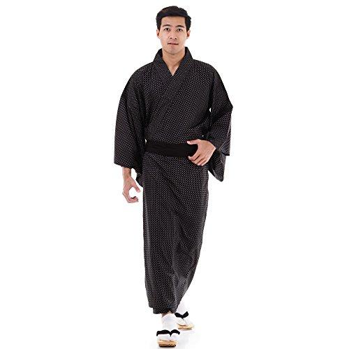 Princess of Asia Japanischer Herren Yukata Kimono Baumwolle M L XL Schwarz
