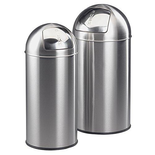 Ribelli Mülleimer-Set, Abfalleimer mit hygienischer Push-Klappe, Mülltonne aus rostfreiem Edelstahl/Zink, ca. 38 L und ca. 28 L, Silber - Edelstahl Push-deckel