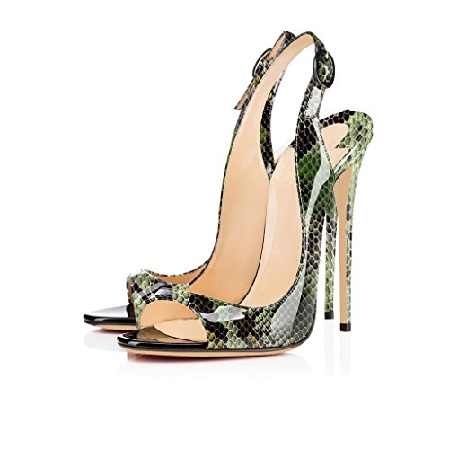 Mit Zehe Slingback High Damenschuhe Schnalle Peep Heels Stiletto grun Schuhe Python Sandalen Edefs Toe 120mm Öffnen wBpq8P