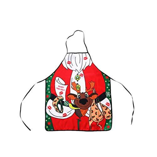 BESTOYARD Weihnachten Schürze Rentier Muster Weihnachten Kostüm Kochschürze Küchenschürze Verstellbar Latzschürze (Rentier Kostüm Muster)