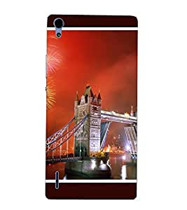 Takkloo bridge of london ( red sky, lights on bridge, beautiful view of city, cross sign of god) Printed Designer Back Case Cover for Huawei Ascend P7