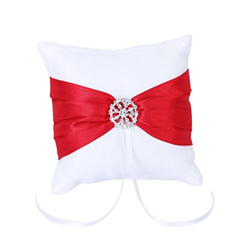 OULII 10 * 10cm bianco rosso Bowknot matrimonio partito Pocket anello cuscino cuscino Bomboniere Photo Props