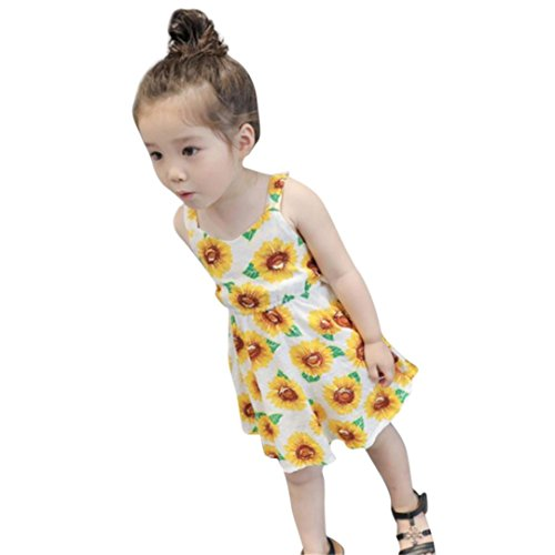 Elecenty Kids Girls Dress, Children Skirt Sunflower Print Sleeveless Backless Floral Dress Outfits For 2-5 Years Old