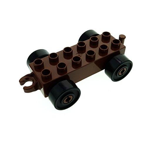 1 x Lego Duplo Anhänger 2x6 reddish rot braun mit Reifen Rad schwarz Auto Zug Katapult Wagen Kupplung offen neue Form für Set 4779 4863 2312c03
