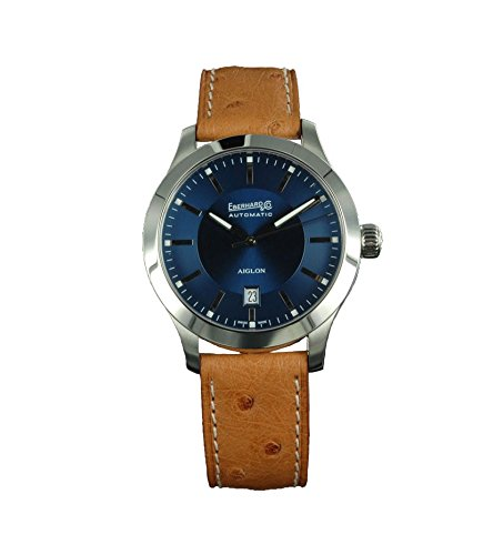 Watch Eberhard Aiglon Grande Taille Automatic Steel Blue Ostrich Leather 41030.6 CP