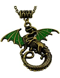 Retro Style Dragon Daenerys-Targaryen GOT Collections Ultimate Fan Christmas Pendant Necklace (Green)