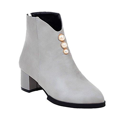 Mee Shoes Damen Reißverschluss chunky heels kurzschaft Ankle Boots Grau