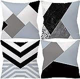 YiYlunneo Lot de 4 Housses de Coussin Decoratif,Dessin Geometrique,Protecteur Taie...