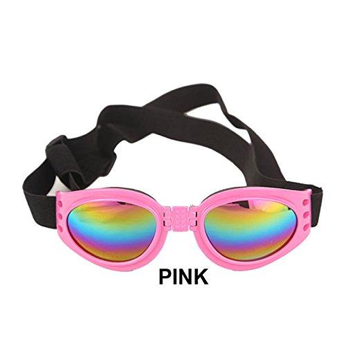 Aprigy - Sommer-Haustier Einstellbare Hundesonnenbrillen Brille Schutzbrillen Medium Large Welpen Haustier-Produkt Faltbare Brille Hundezubeh?r [Rosa ]
