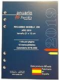 Recambio de agenda español, año 2019, 1 día por página, 21x15 cm.