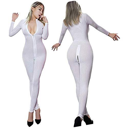 Allibuy Damen Leotard Tops, Womens Babydoll Lingerie Long Sleeve Front Zip Vertikale Streifen Spandex Catsuit Bodysuit Clubwear Geöffnete Schritt-Overalls Erwachsene Cosplay Kostüm - Disco Doll Erwachsenen Kostüme