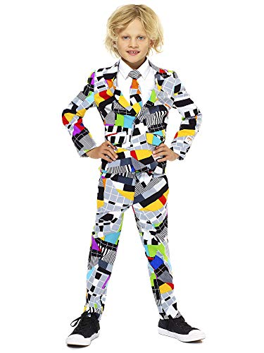 Jungen Für Clevere Kostüm - OppoSuits Crazy Suits for Boys in Different Prints - Comes With Jacket, Pants and Tie In Funny Designs, Testival, Gr. 134/140
