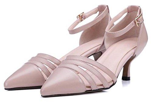 PBXP OL Pumps Hochzeit Leder Knöchelriemen Stall Kitten Ferse Spitz Peep Toe Low Top Hohle Obere Frauen Büros Lässige Anti-Rutsch Schuhe EU Größe 34-39 Pink