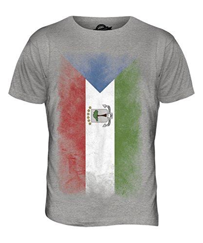 CandyMix Äquatorialguinea Verblichen Flagge Herren T Shirt Grau Meliert
