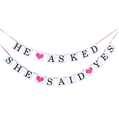 PIXNOR HE ASKED SHE SAID YES Girlande Banner Hochzeit Party Dekoration
