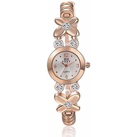 vovotrade La banda de acero inoxidable pulsera de cuarzo analogico reloj de muñeca de moda de vestir