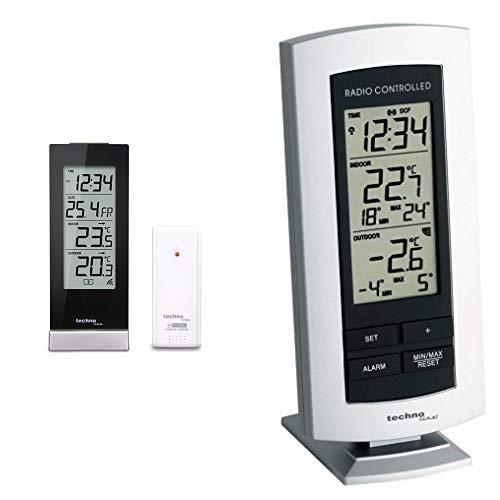 Technoline WS 9767 Wetterstation mit Funkuhr, Innen- und Außentemperaturanzeige, hochglanz, schwarz & WS 9140-IT klassische Wetterstation mit Funkuhr,Innen- sowie Außentemperaturanzeige, silber