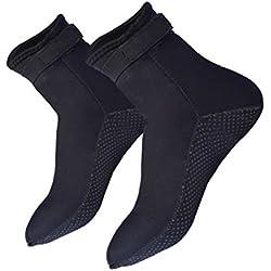 Vinsmoke Chaussettes de plongée 3 mm pour la Plage, la Natation, Le Surf, Le Yoga, Les Exercices de plongée, Les Chaussures d'eau pour Adultes Hommes et Femmes L Noir