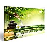 islandburner Bild Bilder auf Leinwand Spa Steine im Garten mit Flusswasser Wandbild, Poster, Leinwandbild MZB