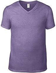 Amboss av106Herren Baumwolle Fashion Basic V Neck T-Shirt Heather Purple Medium