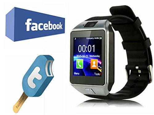 VOSMEP-Smart-Watch-DZ09-Uhr-Telefon-Untersttzung-Facebook-Twitter-mit-Bluetooth-30-NFC-Smart-Armbanduhr-Telefon-Sport-Armband-mit-Kamera-Touch-Screen-fr-Apple-iOS-Samsung-Android-HTC-Untersttzt-SMI-TF