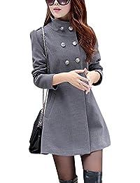 Mujeres medio largo Moda Abrigo de Lana Doble Filas de Botones Chaqueta mezclada de lana Gris S