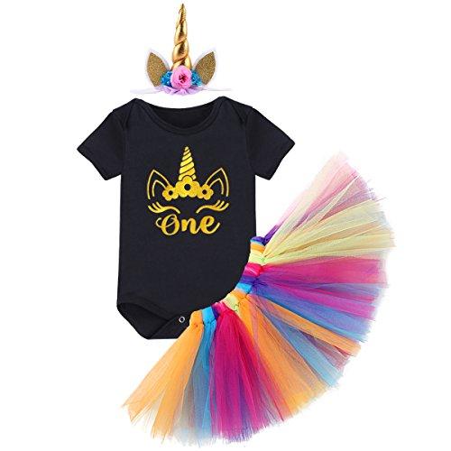 urtstag Tutu Kleid Set Romper + Rock Tütü Pettiskirt + Einhorn Horn Stirnband / Krone Stirnband Geschenk Säuglings Prinzessin 3 Stück Outfits Verkleidung Fotoshooting Kostüm (Passende Baby-und Kleinkind-halloween-kostüme)