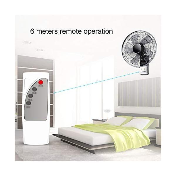 HRD-Ventilador-de-Montaje-en-Pared-Negro-con-Control-RemotoTemporizador-Ventilador-de-enfriamiento-Familia-con-Cable-de-extensin-de-3-m-60W