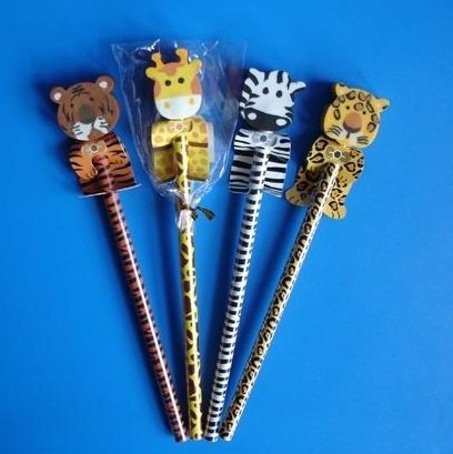 4 Bleistifte & Radiergummi Dschungeltier - Mitgebsel Kindergeburtstag Dschungelparty