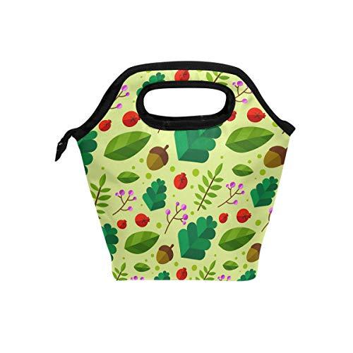 Malpley Lunchtasche mit Blätter- und Nuss-Motiv, isoliert